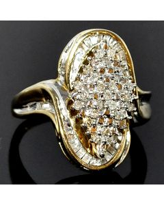 10K Gold diamond ring cluster cocktail Ring 21mm big XL 0.5ct Right hand