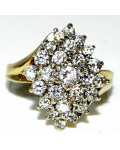 10K Gold Cluster Cocktail ring with Cubic Zircons Big Xl Size 20mm size 7