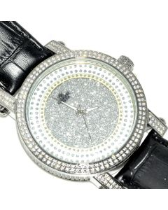 Mens Diamond Max Watch 0.12ct Real Diamonds Extra Bands 5ct Cubic Zarcons Bazel Case