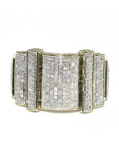 0.63ct Mens Yellow Gold 10K Fashion Pinky Ring Real Diamonds Pave Set 14mm Wide