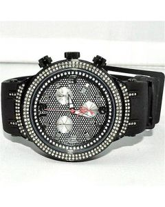 Mens Joe Rodeo Master Diamond Watch 2.2ct w  Black Finish PVD Rubber strap extra bands