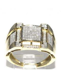 Mens Pinky Fashion Ring 15mm Wide 0.5ct 10K Yellow gold