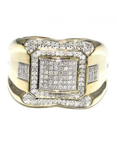 0.5ct Diamond Ring Mens Pinky Fashion Ring 10K Yellow Gold 15.5mm Wide
