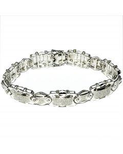Men's Diamond Bracelet Sterling Silver White Gold finish 0.5ctw Pave Set diamonds Wide bracelet Measures 12MM Wide