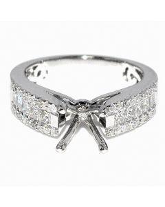 1.15ct Diamond Bridal Engagement Ring Semit Mount 14K White Gold Princess Cut Fits 1ct
