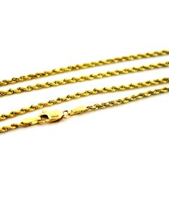 14K Gold Rope Chain Solid Rope Diamond Cut Lobster Clasp 22 Inch 2mm