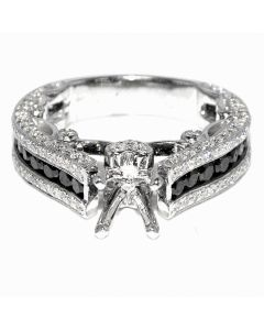 2.45ct Diamond Bridal Engagement Ring 14K White Gold Black White Diamonds Semi Mount Fits 1CT Princess