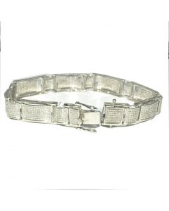 Men's Diamond Bracelet 2ct w Sterling Silver 1160 Diamonds White Gold finish Measures 12MM Wide