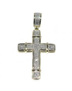 Real Gold Cross 10K Yellow Gold 0.38ctw Pave Set Diamonds in 10K Yellow Gold