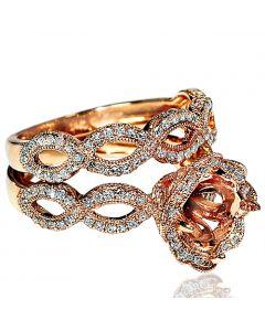 Diamond Semi Mount wedding bridal set 1.15ct fits 1ct round 12mm wide 2pc woven