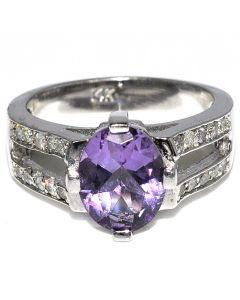 2.5ct Amethyst and Diamond Ring 14K White Gold Size 7 Split Shoulder Gemstone