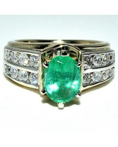 Real Emerald Diamond Ring 2ct green emerald Two tone Ring .5ct 14K Yellow gold