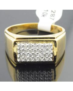 10K Yellow Gold Mens Diamond Ring 3/8cttw Diamonds 11mm Wide Pinky Fashion Ring (i1/i2, I/j)