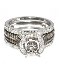 White and Brown Diamonds Wedding Ring Set Semi Mount 0.94ct 14K White Gold