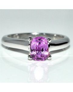 Pink Sapphire Engagement Ring Real Natural 14K White Gold 6.5mm Cathedral set
