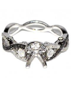 Black Diamond Engagement Ring Semi Mount 14K White Gold 0.44ct Infinity Fits 0.5ct Princess Cut