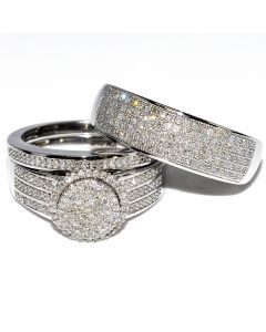 His and Her Rings 0.65cttw 10K White Gold Wide Wedding Set Mens Womens Halo