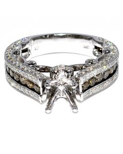 Cognac and White Diamond Semi Mount Ring 2.12ct 14K White Gold Fits 0.5ct Princess Cut Solitaire