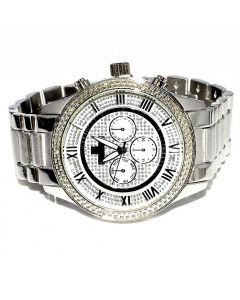 Diamond Watch for Men Ice Time Victory 0.10ctw Diamonds 44mm Dial White