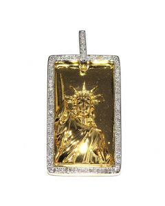 Gold Dollar Pendant 0.6ct Diamonds Sterling Silver With Gold Finish