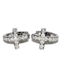 Cross Earrings 0.45ctw Diamond 10k White Gold Hoops with Cross Real Diamond 13mm