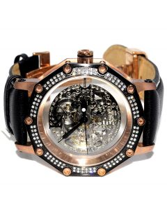 Mens Real Diamond Watch Rose Gold Tone 1.2ct KC Automatic Skeleton Dial New 45mm