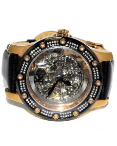 1.2ct Real Diamond Mens Watch Rose Gold Finish Automatic Skeleton Dial New 47mm