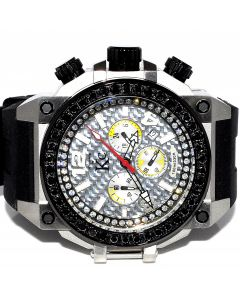 Mens Real Diamond Watch KC Black 4ct Rubber Strap 54mm Big Face Watch