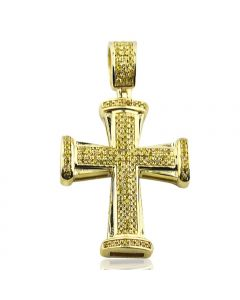 10k Yellow Gold Cross Charm Yellow Diamonds Canary 0.35ctw 37mm Tall