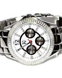 Ladies Diamond Watch Real 1ct Big face 37mm White Dial Metal Band KC