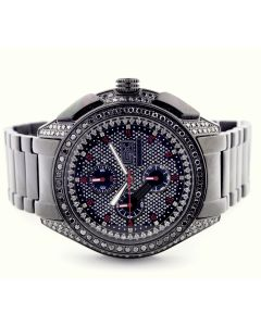 Mens Diamond Watch Big Face Black Bird II By Grand Master 4.75ct Diamonds on Bazel Stainless Band Black PVD