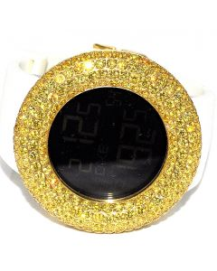 Digital KC Mens Yellow Stones Watch XL Bazel Case with White Rubber Strap 48mm