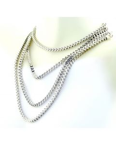10K White Gold Solid Franco Chain 30 Inch Long 3mm Wide 28gms