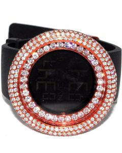 Pink KC Digital Watch 5ct CZ Rubber Strap Rose Finish Stainless 50mm Big New Men
