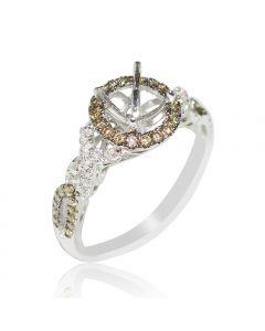 Cognac Diamond Bridal Engagement Ring 14K White Gold 0.49ct fits 0.75ct