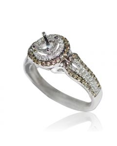 Cognac Diamond Halo Engagement Ring Setting10mm Wide 0.56ct Fits 0.5ct