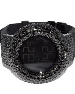 Digital Kc Watch Mens Black CZ Bazel Case Shoulders Rubber Strap 48mm New Rodeo