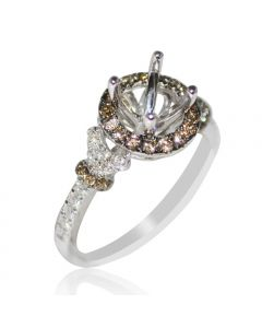 Halo Diamond Engagement Ring Setting Coganc and White Fits 1ct Solitaire 0.64ct
