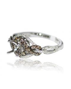 Bridal Ring Setting Cognac White Diamond 0.61ct 14K Whtie Gold Fits 0.5ct