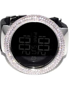 Ladies Digital Watch KC Pink White CZ bazel case Rubber band 45mm