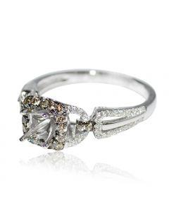 Diamond Semi Mount Ring Setting Cognac White Diamonds 14K White Gold Fits 0.5ct Solitaire