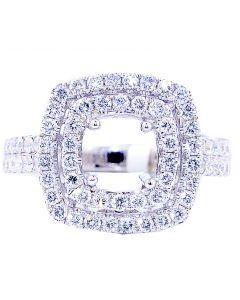 1ct (w) Diamond Semi Mount Square Halo 14K White Gold Fits 1ct Solitaire