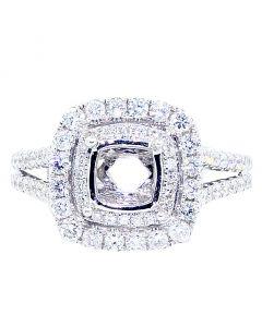 1.25ctw Diamond Semi Mout Ring Setting Square Halo Split Shoulder Side Fits 1ct Solitaire 14K White Gold
