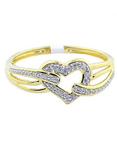 10K Gold Heart Ring 0.04ct Diamonds 8mm Wide Gift Anniversary Ring