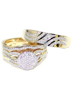0.5ct Trio Rings Set His And Her Rings 10K Yellow Gold 17mm Wide