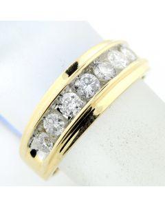 Diamond Man's Wedding Band Round Diamonds 1.00 ct 10K Yellow Gold