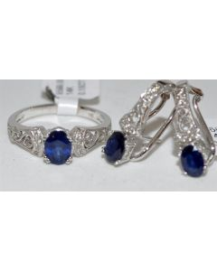 Diamond & Sapphires Ring and Earrings Set 14K White Gold Ring 2.55ct Vintage