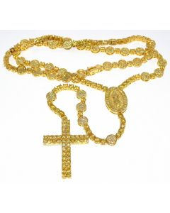 Men's Rosary Necklace Chain Simulated Yellow Cubic Zarcons Ful CZ 8mm 40