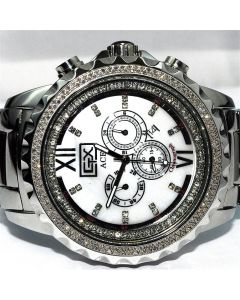 Mens Diamond Watch Big Face Ace By Grand Master 2ct Diamonds on Bazel Stainless Band
