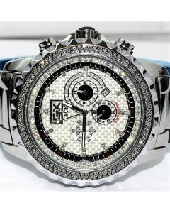 Mens Diamond Watch Big Face Ace By Grand Master 1ct Diamonds on Bazel Stainless Band